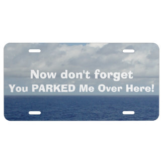 Funny Lost Parked Car Blue Sea Front License Plate