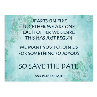 Funny love poem save the date postcard poetry