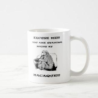 Funny Macaque T Shirt Basic White Mug