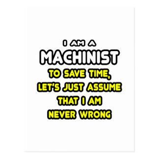 Funny Machinist T-Shirts and Gifts Postcard