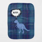 Funny MacKerrell Plaid with Dinosaur Burp Cloth