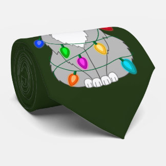 Funny Mad Christmas Tree Cat in Colorful Lights Tie