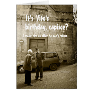 Funny mafia birthday customizable greeting card