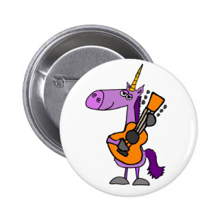 Funny Magical Unicorn Playing Guitar 2 Inch Round Button