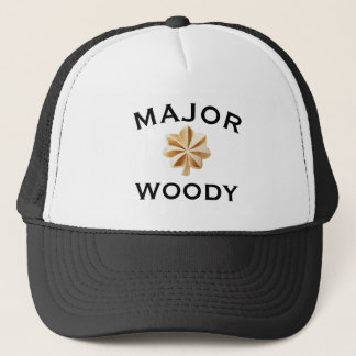 """Funny """"Major Woody"""" with Emblem Trucker Hat"""