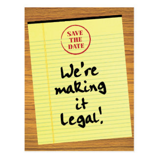 Funny Making It Legal Save the Date Postcard
