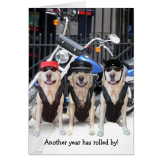 Funny Male Biker Lab Card