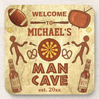 Funny Man Cave with Your Name Custom Coaster