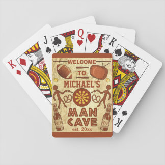 Funny Man Cave with Your Name Custom Playing Cards