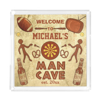 Funny Man Cave with Your Name Custom Serving Tray