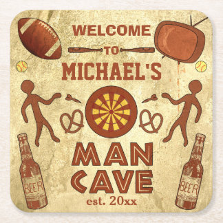 Funny Man Cave with Your Name Custom Square Paper Coaster
