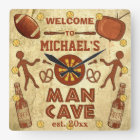 Funny Man Cave with Your Name Custom Square Wall Clock