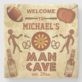 Funny Man Cave with Your Name Custom Stone Coaster