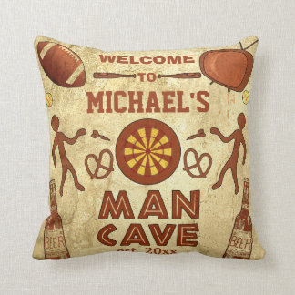 Funny Man Cave with Your Name Custom Throw Pillow