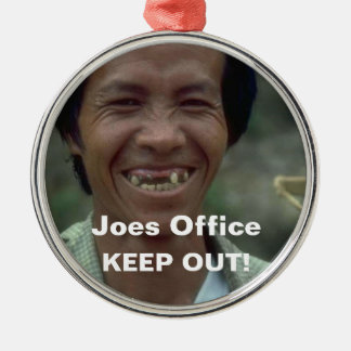 Funny Man Missing Teeth Keep Out Door Hanger Ornam Silver-Colored Round Ornament