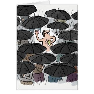 Funny man washing in the rain anniversary card