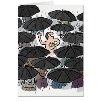 Funny man washing in the rain congratulations card