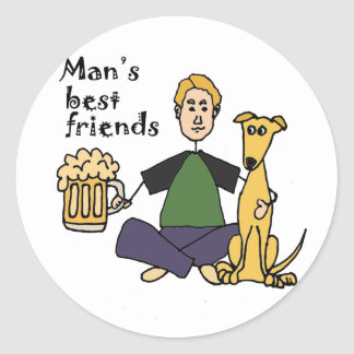 Funny Man with his Dog and Beer Cartoon Round Sticker