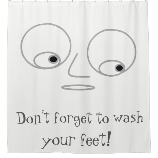 Funny Man's Face Design White Shower Curtain