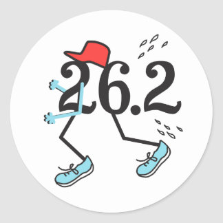 Funny Marathon 26.2 © Gift for Runner Classic Round Sticker