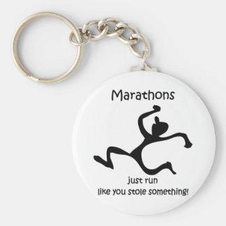 Funny marathon basic round button keychain