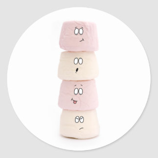funny marshmallow characters round sticker