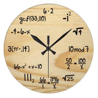 "Funny Math Geek - ""wood grain"" Wallclock"
