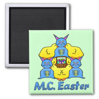 Funny MC Easter Bunnies Chicks Tessellation Square Magnet