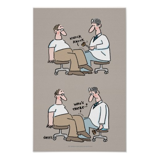 Funny Medical Office Poster Doctor Checks Reflexes