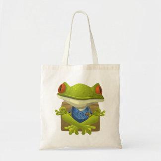 Funny Meditating Frog Cartoon Budget Tote Bag
