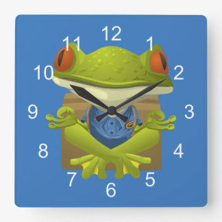 Funny Meditating Frog Square Wall Clock