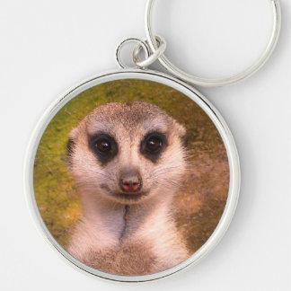 Funny meerkat 001.02.F Silver-Colored Round Keychain