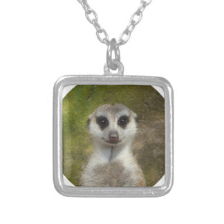 Funny Meerkat 002 02_rd Silver Plated Necklace