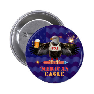 Funny Merican Eagle 4th of July Beer and Fireworks 2 Inch Round Button
