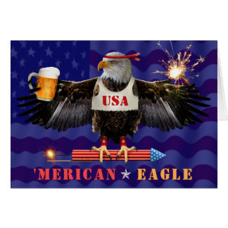 Funny Merican Eagle 4th of July Beer and Fireworks Card