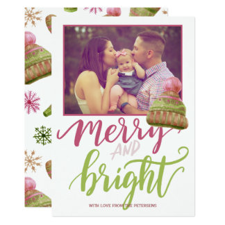 Funny merry & bright pink green script photo card