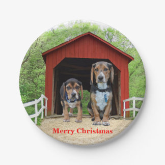 Funny Merry Christmas Beagle Hound Pups Paper Plate