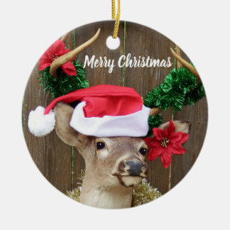 Funny Merry Christmas Buck Whitetail Deer Ceramic Ornament