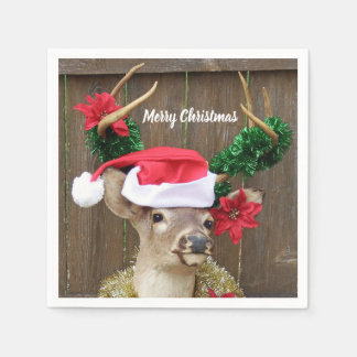 Funny Merry Christmas Buck Whitetail Deer Disposable Napkin