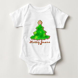 Funny Merry Christmas Marijuana Baby Bodysuit