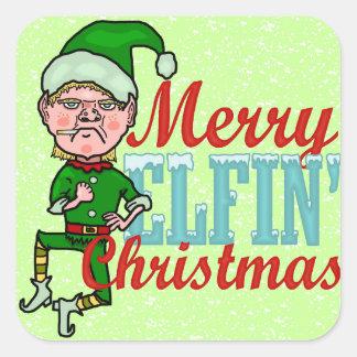 Funny Merry Elfin Christmas Bah Humbug Square Sticker