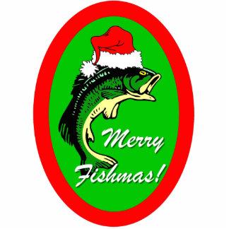 funny Merry Fishmas Christmas Photo Sculpture Ornament