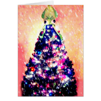 Funny Merry Squidmas Angry Squid Christmas Tree Card
