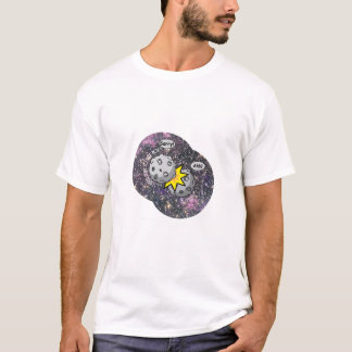 Funny meteor collision in space Cartoon T-Shirt