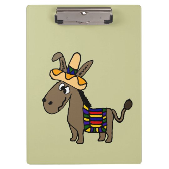 Funny Mexican Burro with Colourful Blanket Clipboard