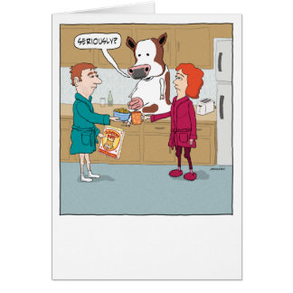 Funny Milking the Cow Happy Anniversary Greeting Card