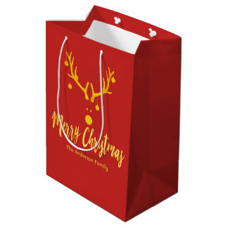 Funny minimalist Christmas gold reindeer on red Medium Gift Bag