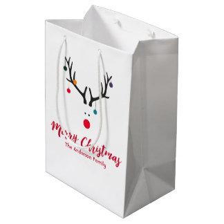 Funny minimalist Christmas reindeer on white Medium Gift Bag