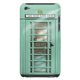 Funny Mint Green British Phone Box Personalized Barely There iPod Case