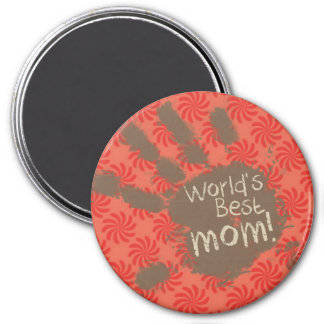 Funny Mom Coral Red Swirl Refrigerator Magnet